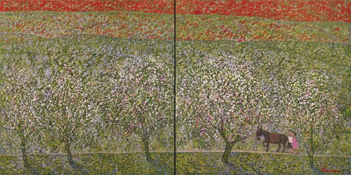 32 x 64 - Cerisiers en Fleurs - diptyque