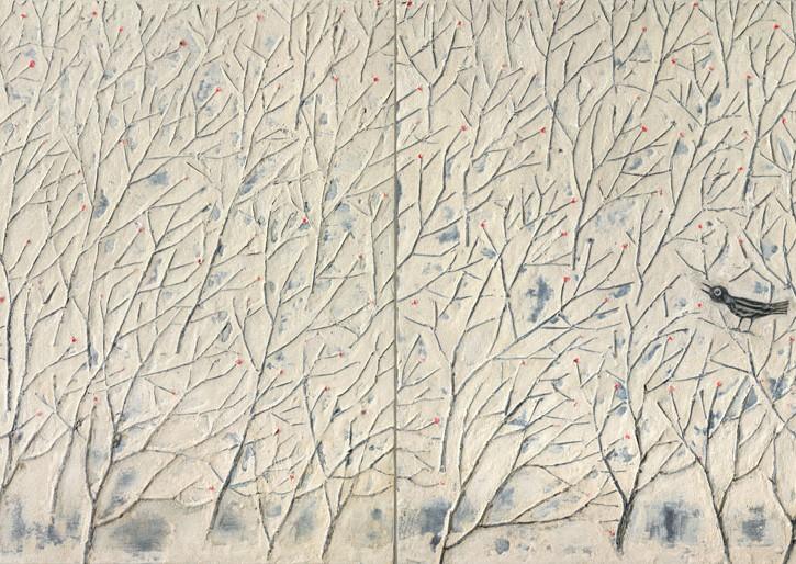 32x64 - L'Oiseau dans la Foret - 2 panels set - hi res
