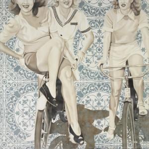 48x48 Three Girls, Two Bikes - hi res